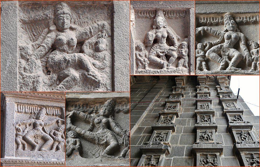 Natya Mudras depicted on the walls of Chidambaram Nataraja Temple