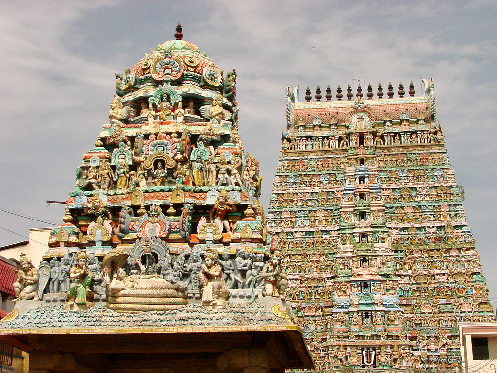 Gopurams of a Kumbakonam Temple near Karkadeswarar Temple