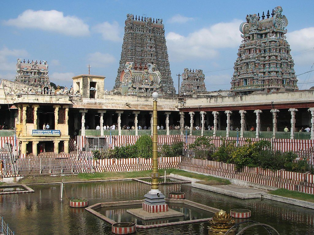 Meenakshi Temple's Golden Lotus Pond