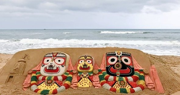 Puri beach's sand sculptures of the idols