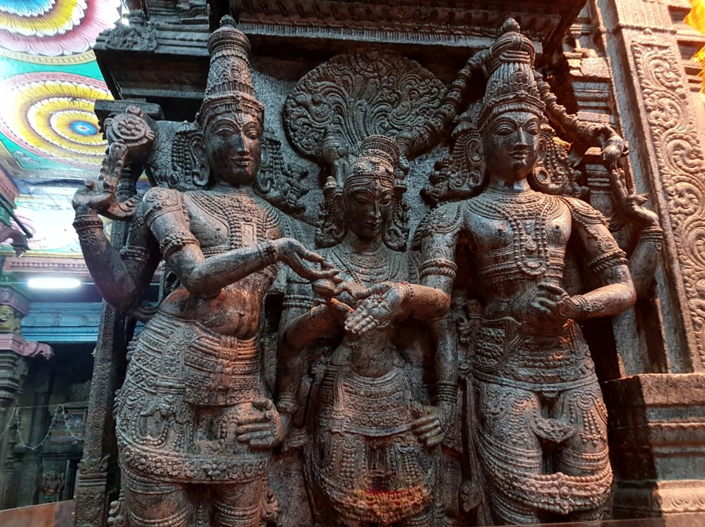 A sculpture showing the marriage of the goddess and Lord at the Meenakshi Temple