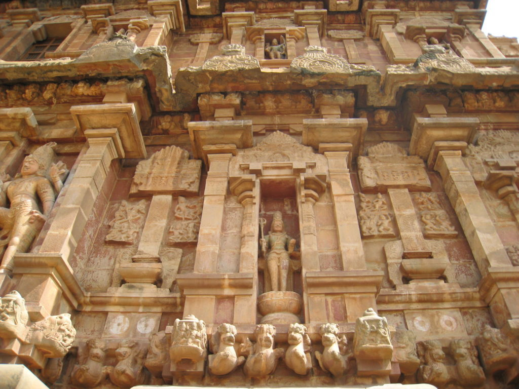 Brihadeeswarar Temple's wall are carved in detail
