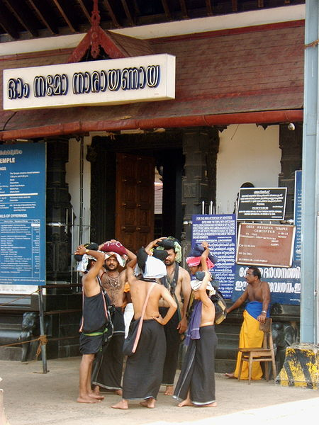 Devotees in the temple attire at Sabarimala Temple