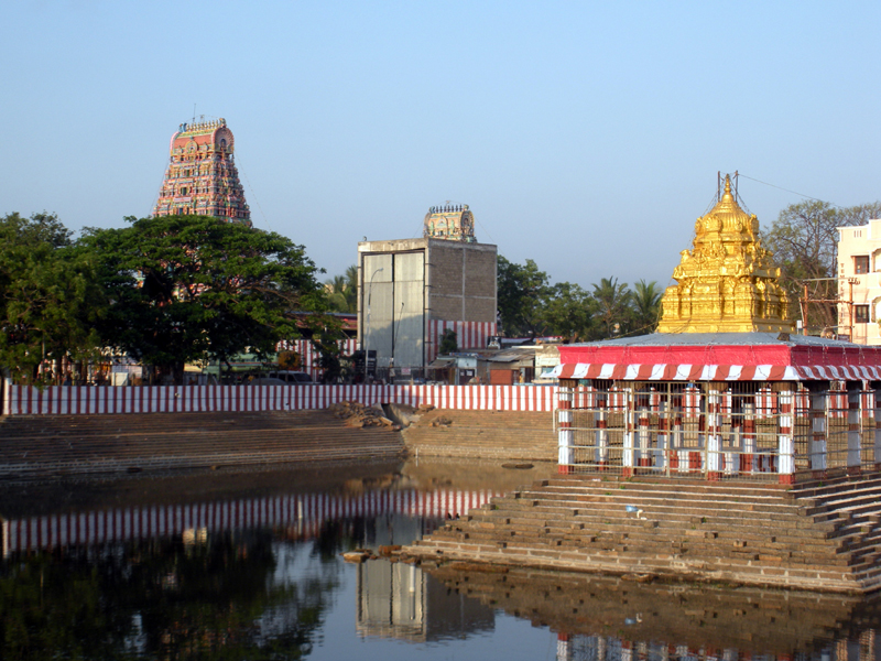 A pond within the Marundeeswarar temple