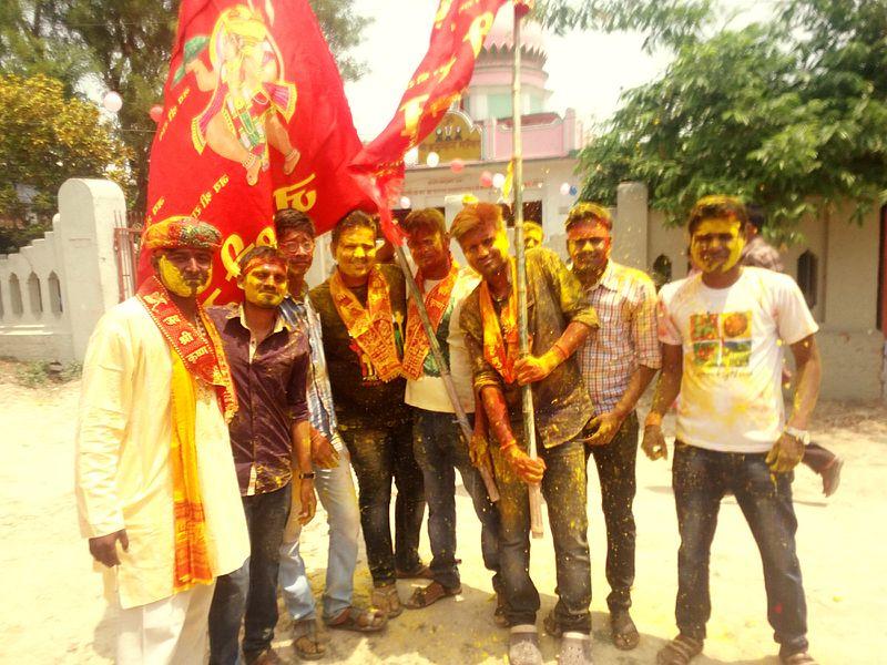 Devotees celebrating Hanuman Jayanti