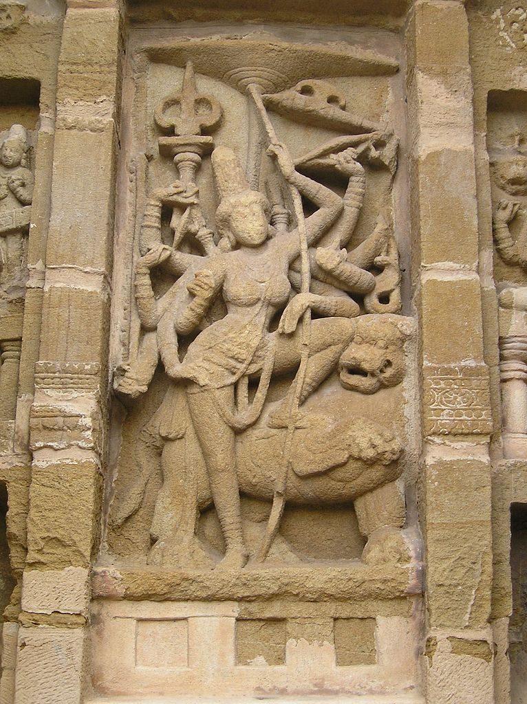 Durga Devi sculpture at Kanchi Kailasanathar Temple