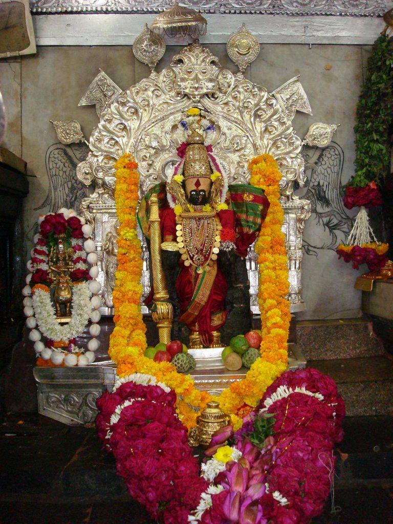 main deity statue at mahalakshmi temple kolhapur.