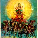 Portrait of Surya Deva the Sun God of Gayatri Mantra.