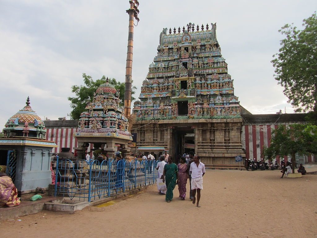The gopuram of the thirunageswaram naganathar temple.