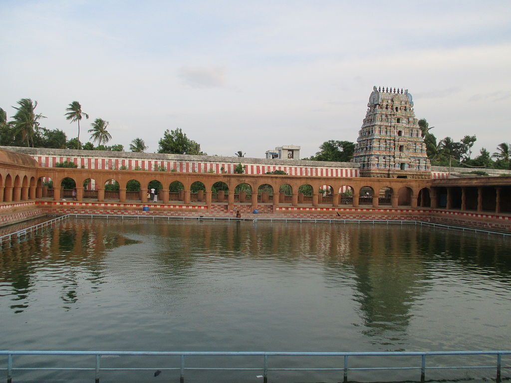 Temple pond at thirunageswaram naganathar temple.