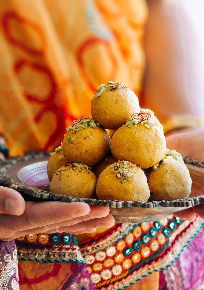 Traditional Indian Ladoos distributed on Basant Panchami