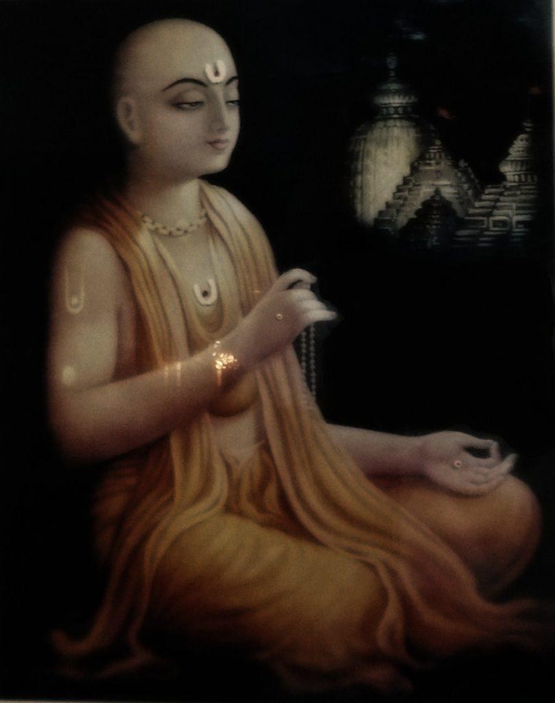 chaitanya mahaprabhu who led the bhakti movement and helped spread the hare rama hare krishna mantra.