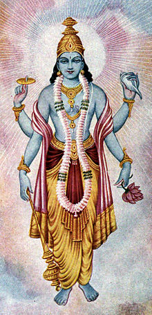 Lord vishnu who is prayed to for peace in the hare rama hare krishna mantra.