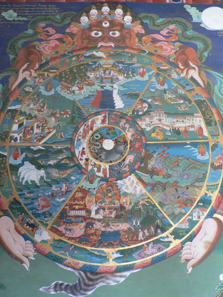 tibetan painting of the samsara which is  the cycle of life and death_hare rama hare krishna mantra.
