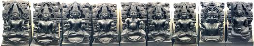 Navagraha statues representing planets in houses