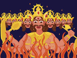 The Ten Headed Ravana Burning on the Dusshera Marking The Victory of Good Over Evil