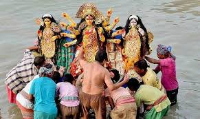 Durga Maa returning to her abode on thge day of Dusshera
