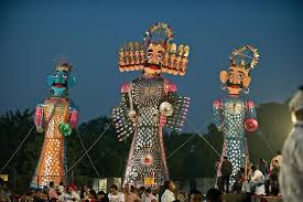 Ravan and his comrades ready to be burnt on Dusshera