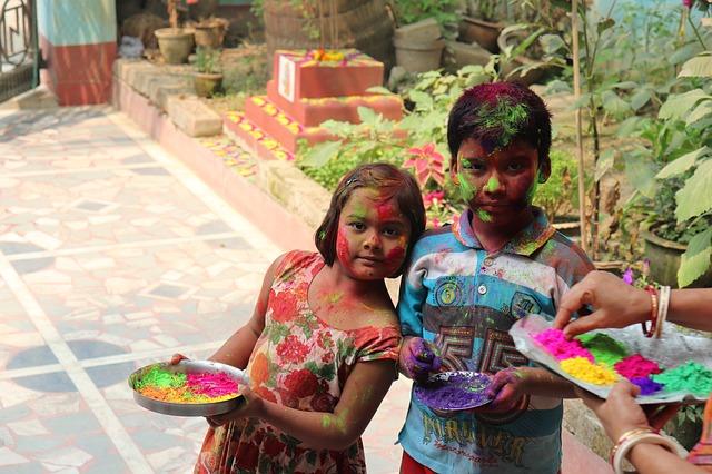 Kids celbrating Holi