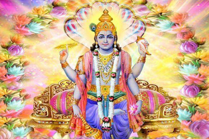 A glorious image of Lord Vishnu worshipped in vaisakhia month