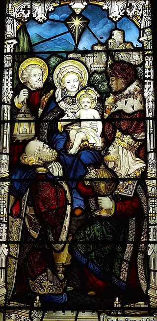 Stained Glass Window Depicting Nativity Scene