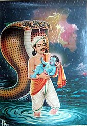 Krishna Birth In Mahabharata Vasudeva Escaping With Baby Krishna