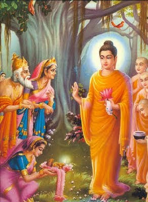 this is an imae of Gautama buddha blessing his devotees