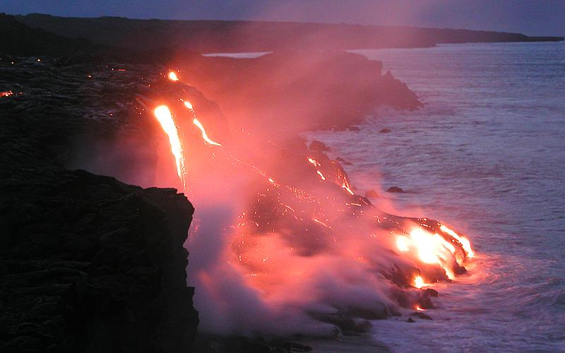 Fire Meets Water - Lava Flowing Into The Ocean