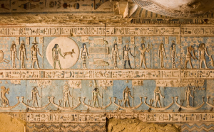 An ancient Egyptian wall frieze shows the depiction of the constellation of Pisces.