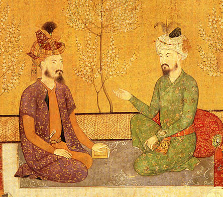 The Mughal Emperor Humayun was a great believer in astrology. In this picture, he is shown seated with his father Babur.