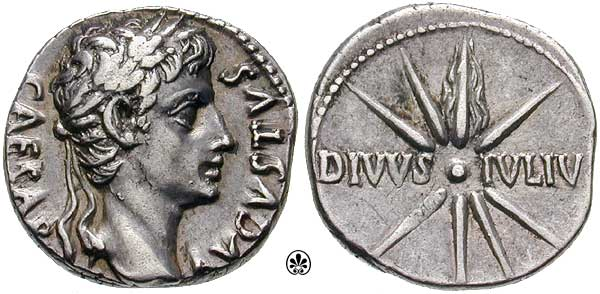 Coin Showing Julius Caesar And The Comet