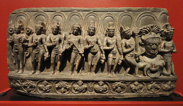 The Navagrahas With Rahu and Ketu On Extreme Right