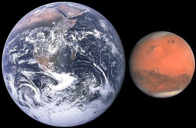 Mars and Earth Size Comparison