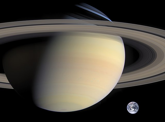 Saturn and Earth Size Compared