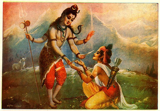 Siva Gives Arjuna The  Pashupathastra