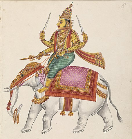 Indra On His Elephant Carrying The Thunderbolt Weapon