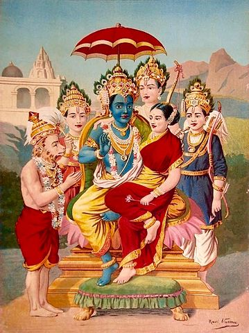 Lord Rama With Sita Devi, His Brothers And Hanuman