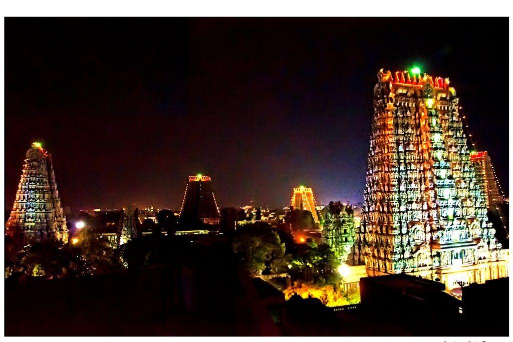 Meenakshi Temple Lit At Night