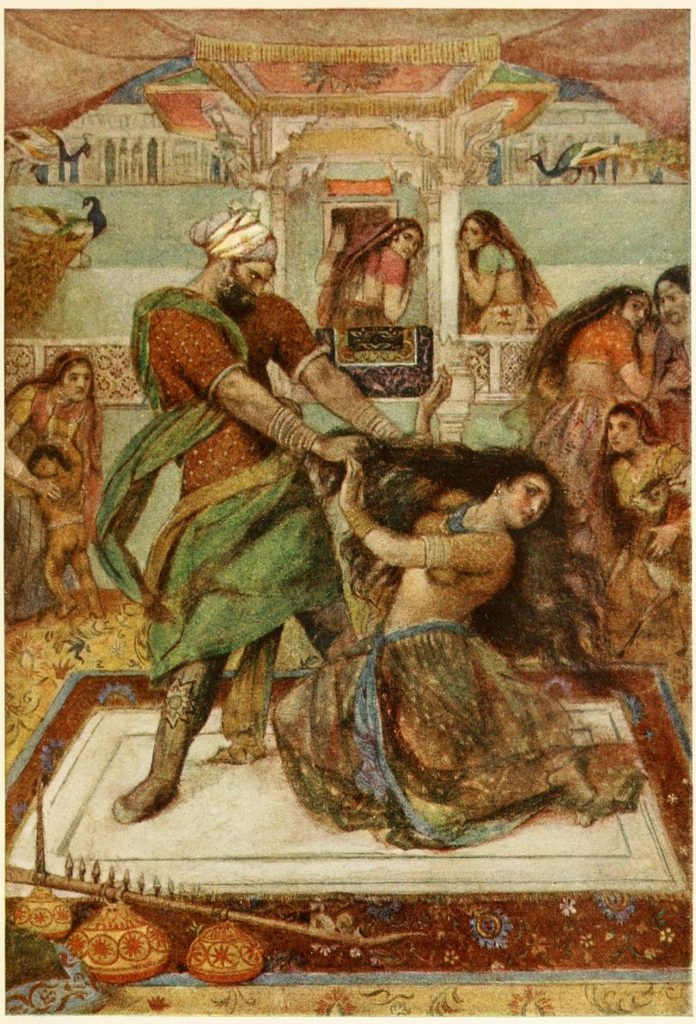 Illustration Of Dushasan Dragging Draupadi From Her Chambers