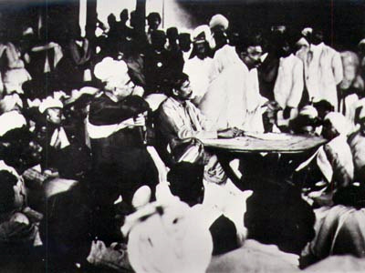 Aurobindo And Tilak Talking At A Table In Surat Congress Meeting 1907